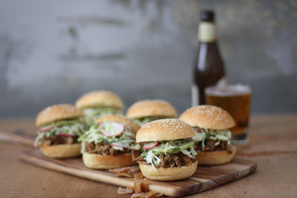 Pork sliders with apple and radish slaw