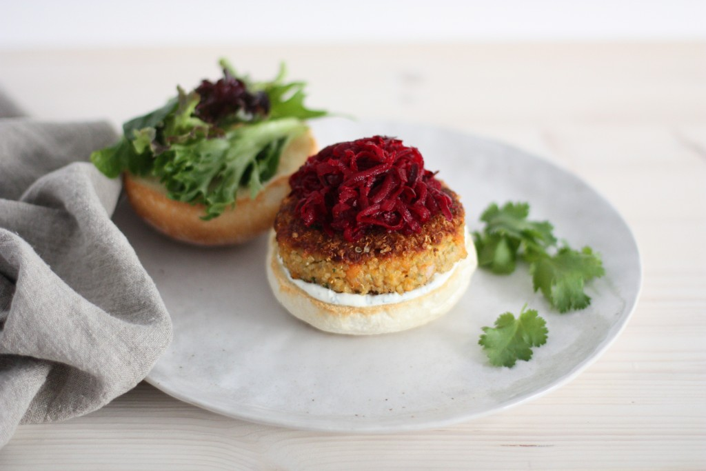 Crunchy quinoa veggie burger with pickled beetroot