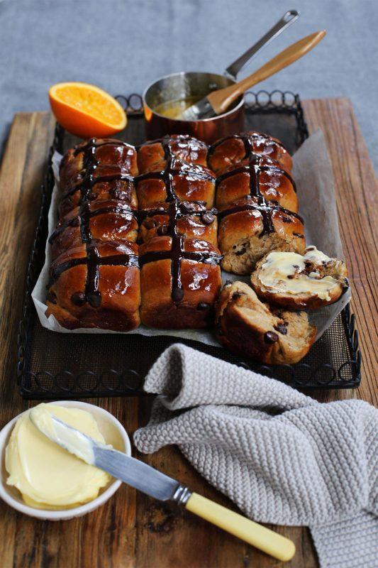Hot Cross Buns with Dark Chocolate and Orange Glaze