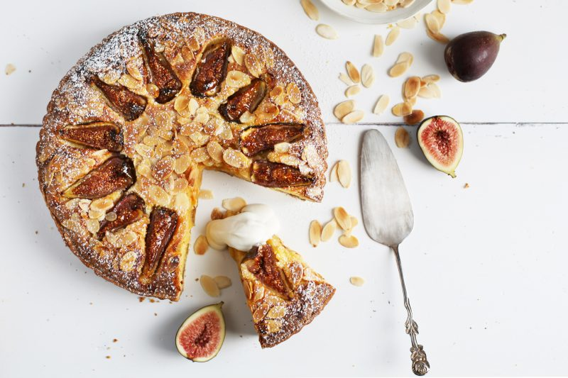 Fig and almond tart with honeyed ricotta