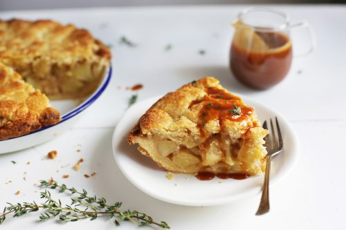 Apple pie with thyme salted caramel