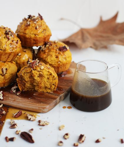Pumpkin muffins with maple caramel and pecans