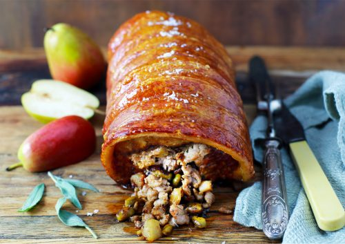 Pork Loin with Sausage, Pear & Pistachio Stuffing
