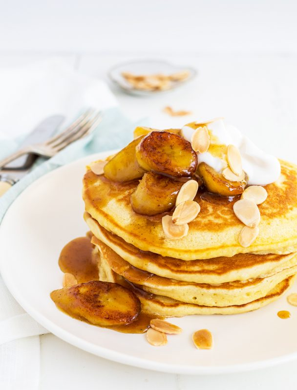 Buttermilk Pancakes with Caramelised Bananas