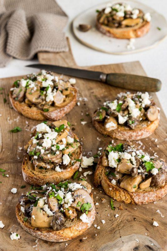 Mushroom Bruschetta with Feta