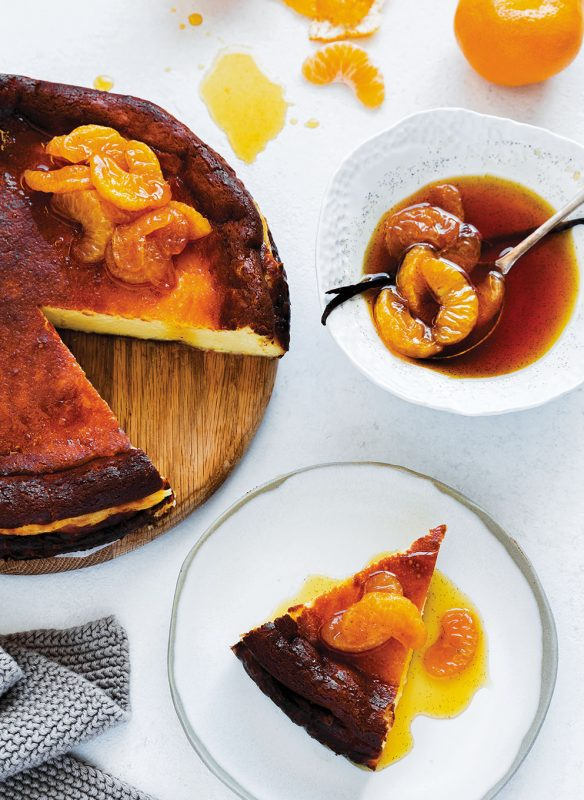 Basque Cheesecake with Caramelised Mandarins