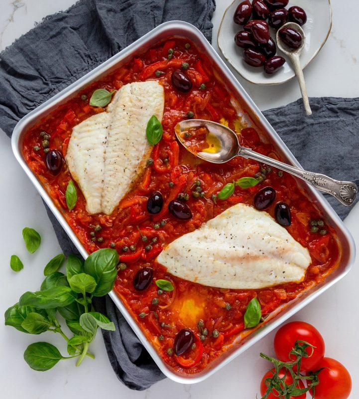 Baked Snapper Fillets with Caponata