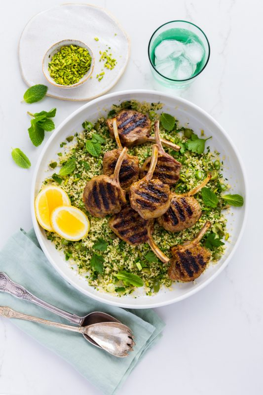Grilled Lamb Cutlets with Herb Couscous