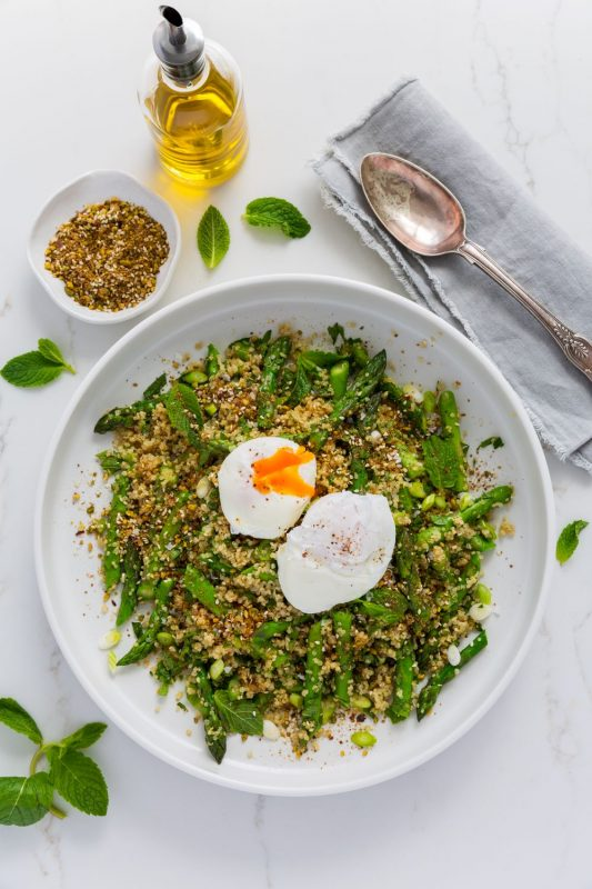 Asparagus, Quinoa & Dukkah Salad with Poached Eggs