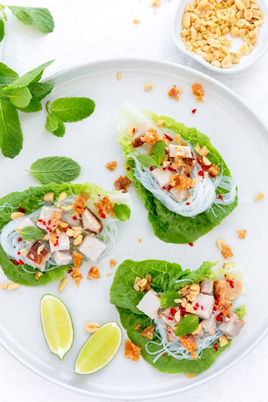 Pork & Glass Noodle Lettuce Cups