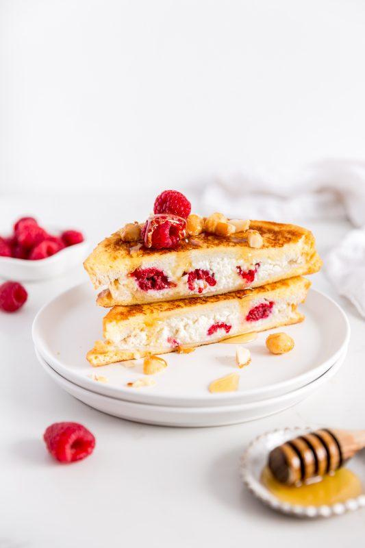 Ricotta & Raspberry French Toast with Honey Macadamias
