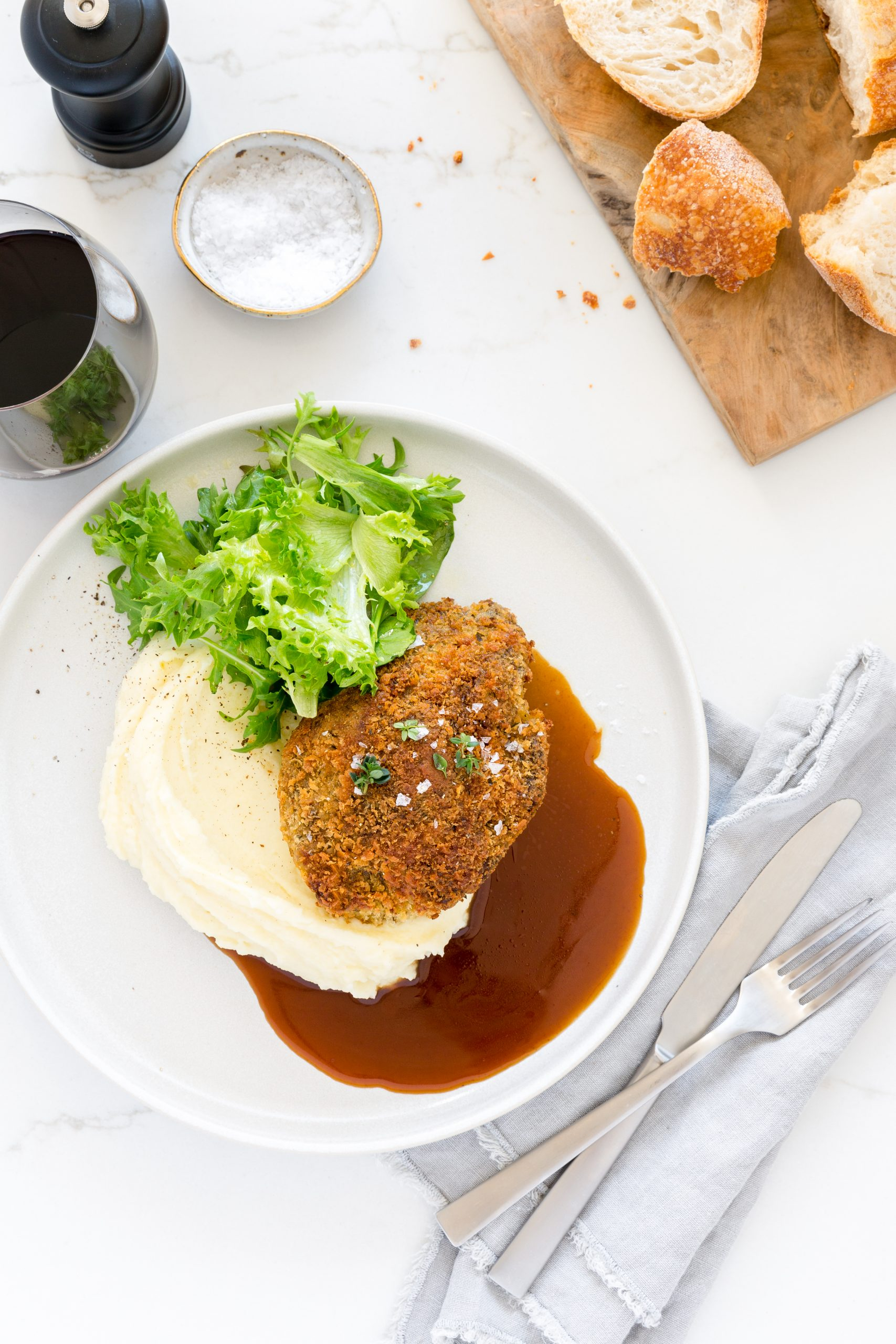 Crumbed Slow-Cooked Beef Cheek with Jus